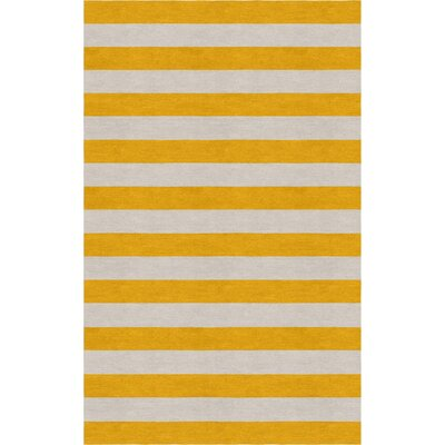 Cevallos Hand Tufted Silver Dark Gold Stripe Area Rug Rug Size: Rectangle 6 x 9