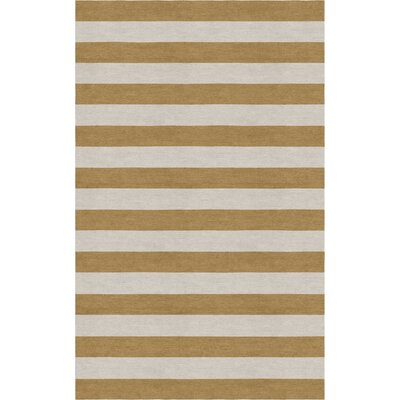 Chace Hand Tufted Wool Silver/Camel Stripe Area Rug Rug Size: Rectangle 8 x 10