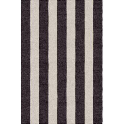 Clausen Stripe Hand-Woven Wool Silver/Charcoal Area Rug Rug Size: Rectangle 6 X 9