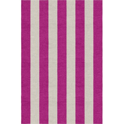 Claussen Stripe Hand-Woven Wool Silver/Magenta Area Rug Rug Size: Rectangle 8 X 10
