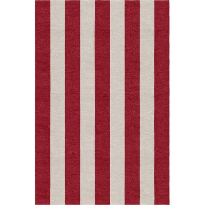 Claverton Stripe Hand-Woven Wool Silver/Red Area Rug Rug Size: Rectangle 8 X 10