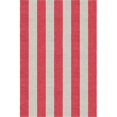 Claverton Down Stripe Hand-Woven Wool Silver/Red Area Rug Rug Size: Rectangle 9 X 12