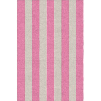 Clawson Stripe Hand-Woven Wool Silver/Pink Area Rug Rug Size: Rectangle 9 X 12