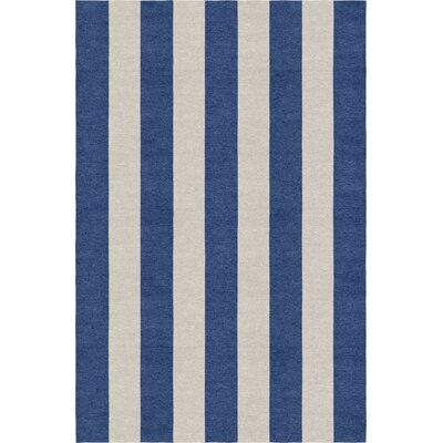 Clayborn Stripe Hand-Woven Wool Silver/Navy Blue Area Rug Rug Size: Rectangle 5 X 8