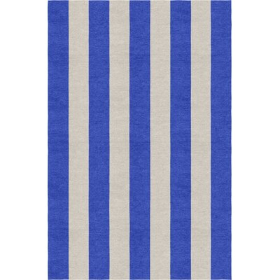 Claypool Stripe Hand-Woven Wool Silver/Blue Area Rug Rug Size: Rectangle 5 X 8