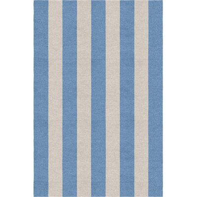 Claypoole Stripe Hand-Woven Wool Silver/Aqua Area Rug Rug Size: Rectangle 5 X 8
