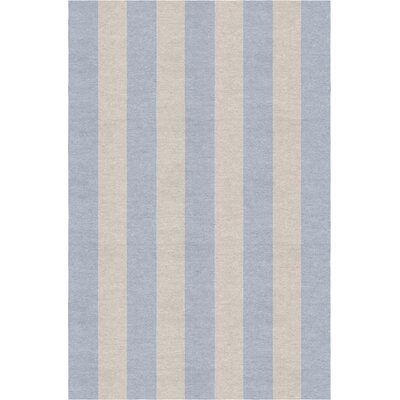 Clearwater Stripe Hand-Woven Wool Silver/Light Blue Area Rug Rug Size: Rectangle 8 X 10