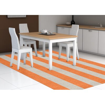 Burnell Hand-Woven Wool Orange/Silver Area Rug Rug Size: Rectangle 8 x 10