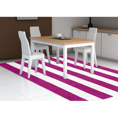 Burnell Hand-Woven Wool Magenta/White Area Rug Rug Size: Rectangle 9 x 12