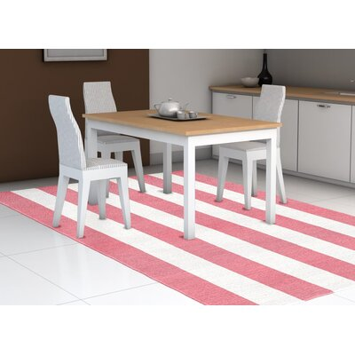 Burnell Hand-Woven Wool Pink/White Area Rug Rug Size: Rectangle 8 x 10