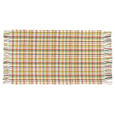 Thibodaux Flat Weave Plaid Haystack Hand Woven 100% Cotton Yellow/Green/Red Area Rug
