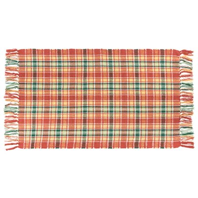 Thibodaux Flat Weave Plaid Rhubarb Hand Woven 100% Cotton Red/Green Area Rug