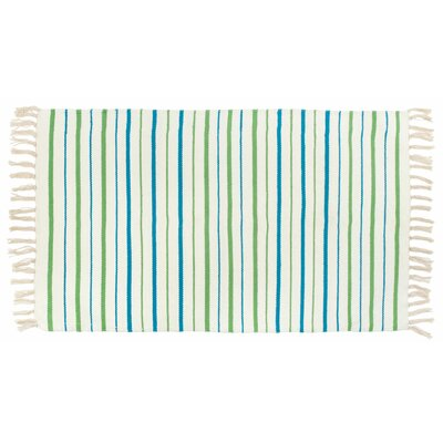 Kirsty Flat Weave Striped St. Croix Hand Woven 100% Cotton Blue/Green Area Rug