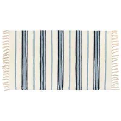 Kirsty Flat Weave Striped Seaspray Hand Woven 100% Cotton Blue/Ivory Area Rug