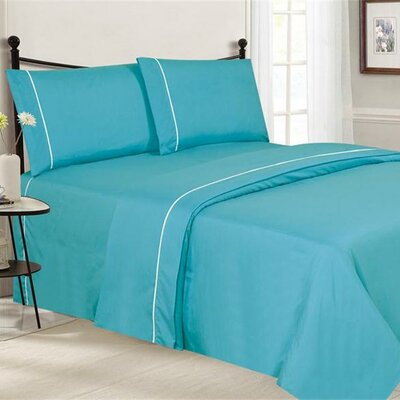 Santi Luxurious Microfiber 4 Piece Sheet Set Size: Full, Color: Aqua