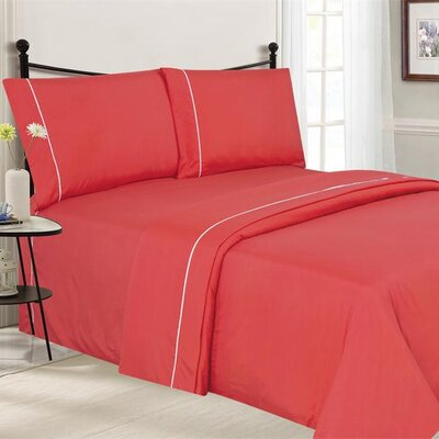Santi Luxurious Microfiber 4 Piece Sheet Set Size: Full, Color: Coral