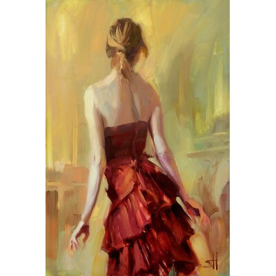 'Girl in a Copper Dress' Painting Print on Canvas