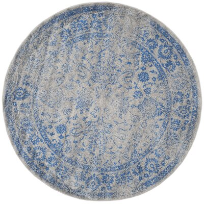 Sebring Gray/Blue Area Rug Rug Size: Round 6