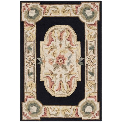 Duarte Hand-Hooked Navy/Ivory Area Rug Rug Size: Rectangle 9 x 12