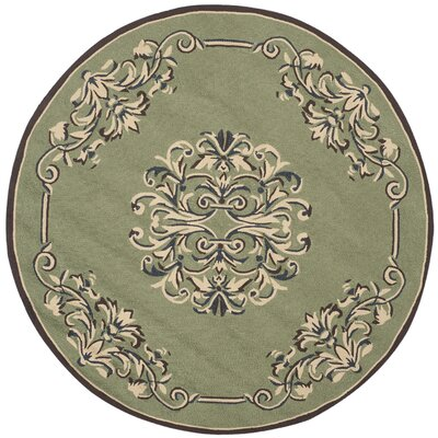 Orr Hand-Hooked Sage Area Rug Rug Size: Round 8 x 8