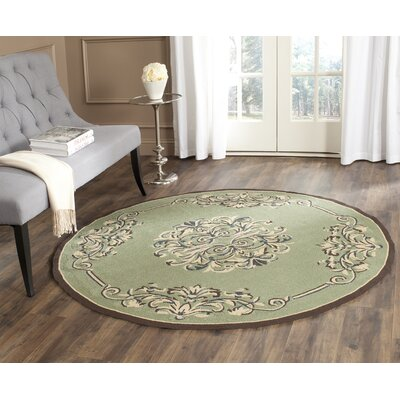 Orr Hand-Hooked Sage Area Rug Rug Size: Round 6' x 6'