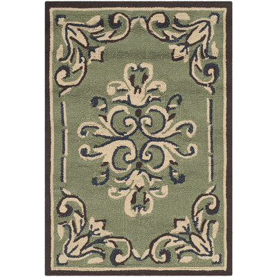 Orr Hand-Hooked Sage Area Rug Rug Size: Rectangle 3 x 5