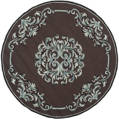 Sedgemoor Hand-Hooked Chocolate Area Rug Rug Size: Round 6 x 6