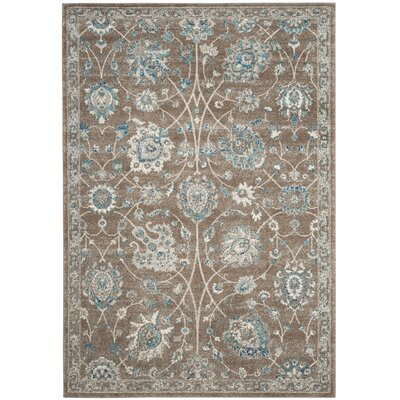 Bassham Light Brown/Blue Area Rug Rug Size: 51 x 76
