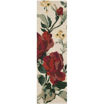 Rose Chintz Hand-Loomed Shortbread Area Rug Rug Size: Runner 23 x 8