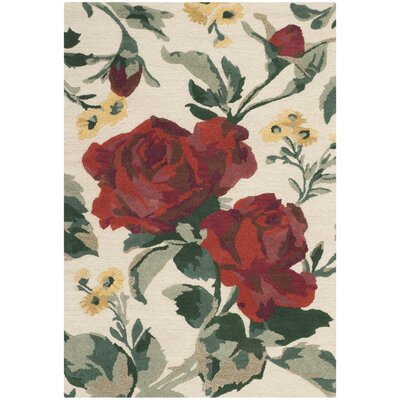 Rose Chintz Hand-Loomed Shortbread Area Rug Rug Size: Rectangle 4 x 6
