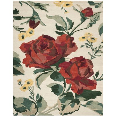 Rose Chintz Hand-Loomed Shortbread Area Rug Rug Size: Rectangle 5 x 8