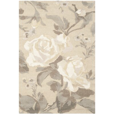 Rose Chintz Hand-Loomed Bedford Grey Area Rug Rug Size: Rectangle 4 x 6