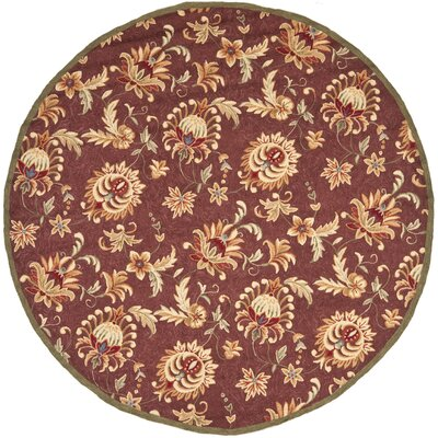 Hahn Hand-Hooked Maroon/Green Area Rug Rug Size: Round 8 x 8