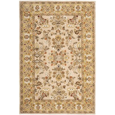 Marin Hand-Hooked Ivory/Gold Area Rug Rug Size: 3 x 5