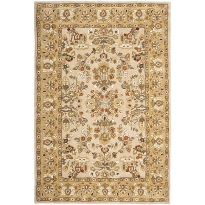 Marin Hand-Hooked Ivory/Gold Area Rug Rug Size: 6 x 9