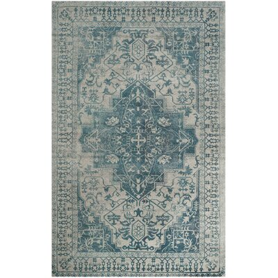 Mahoney Hand-Tufted Blue/Grey Area Rug Rug Size: Round 6 x 6