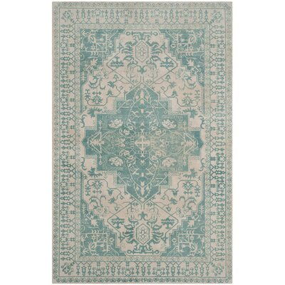 Mcfarland Hand-Tufted Ivory/Turquoise Area Rug Rug Size: 2 x 3