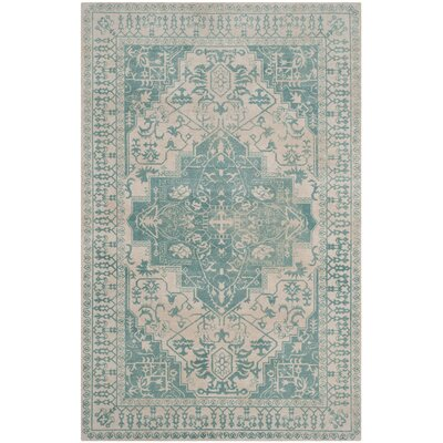 Mcfarland Hand-Tufted Ivory/Turquoise Area Rug Rug Size: 4 x 6