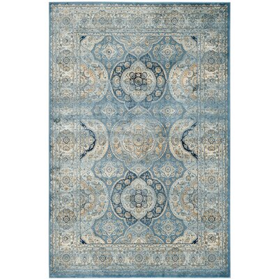 Mays Light Blue/Ivory Area Rug Rug Size: Rectangle 51 x 77