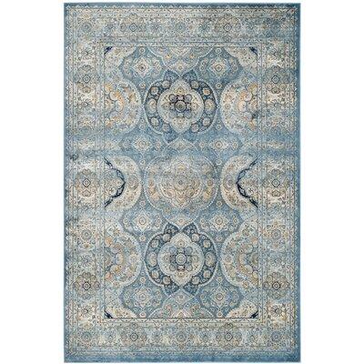 Mays Light Blue/Ivory Area Rug Rug Size: 51 x 77