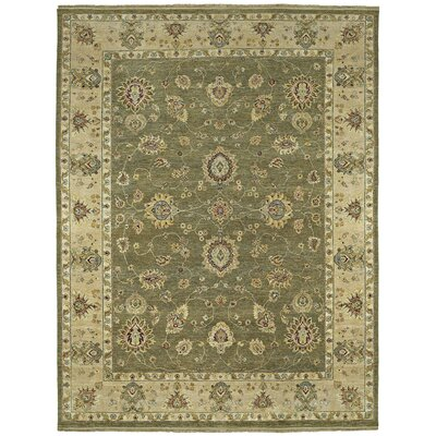 Barge Hand-Knotted Olive Area Rug Rug Size: 8 x 10
