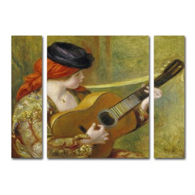 Young Woman with a Guitar 3 Piece Painting Print on Canvas Set