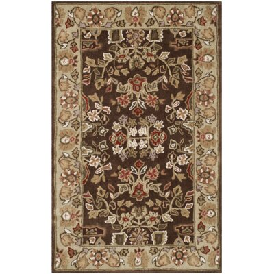 Dominic Hand-Hooked Brown/Green Area Rug Rug Size: 2 x 3