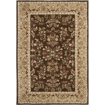 Stacy Hand-Hooked Brown/Green Area Rug Rug Size: 4 x 6
