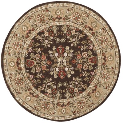 Stacy Hand-Hooked Brown/Green Area Rug Rug Size: Round 8 x 8