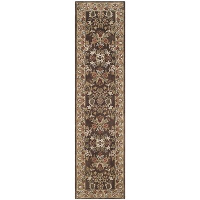 Dominic Hand-Hooked Brown/Green Area Rug Rug Size: Runner 23 x 9