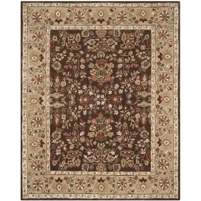 Stacy Hand-Hooked Brown/Green Area Rug Rug Size: 6 x 9