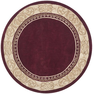 Duckett Hand-Hooked Burgundy/Ivory Area Rug Rug Size: Round 6 x 6