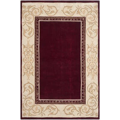 Grange Hand-Hooked Burgundy/Ivory Area Rug Rug Size: Rectangle 6 x 9