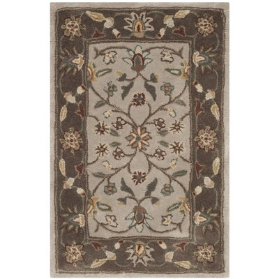 Regner Hand-Hooked Ivory/Taupe Area Rug Rug Size: Rectangle 4 x 6
